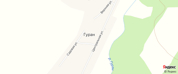 Зеленый переулок на карте села Гурана с номерами домов