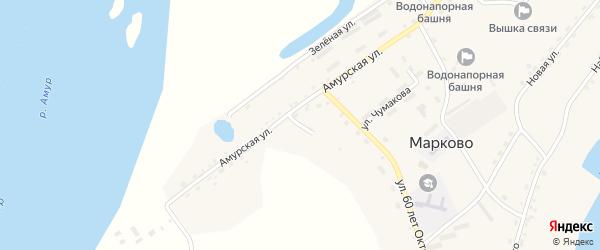 Амурский переулок на карте села Марково с номерами домов