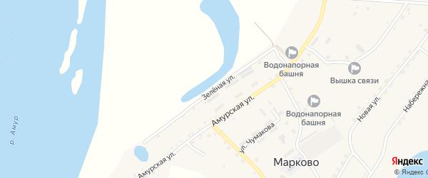 Зеленая улица на карте села Марково с номерами домов