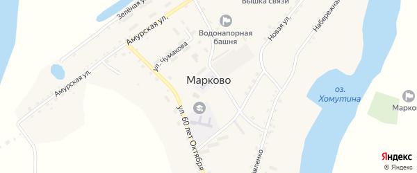 Пограничная улица на карте села Марково с номерами домов