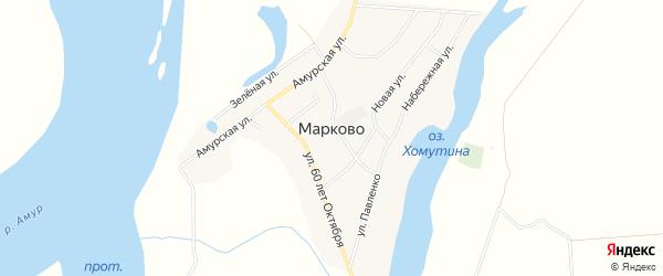 Карта села Марково в Амурской области с улицами и номерами домов