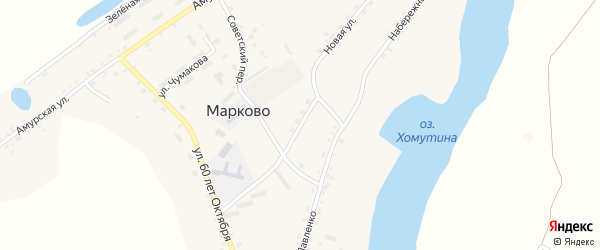 Школьный переулок на карте села Марково с номерами домов