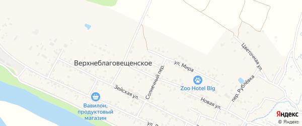 Праздничный переулок на карте Верхнеблаговещенского села с номерами домов