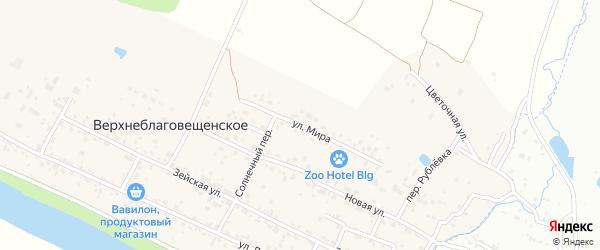 Улица Мира на карте Верхнеблаговещенского села с номерами домов