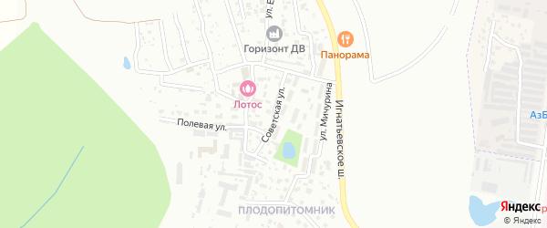 Советская улица на карте села Плодопитомника с номерами домов