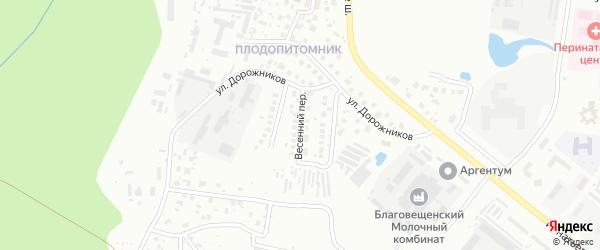 Весенний переулок на карте Благовещенска с номерами домов