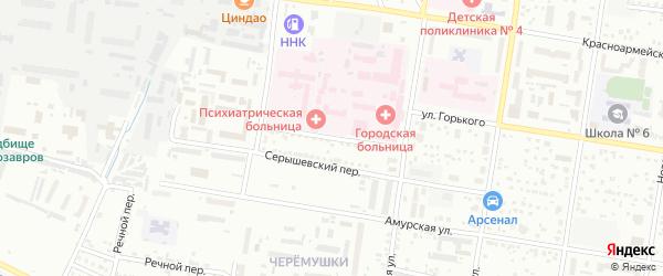 Больничный переулок на карте Благовещенска с номерами домов