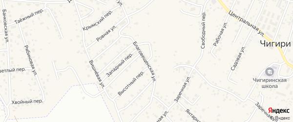 Благовещенская улица на карте села Чигири с номерами домов