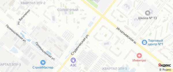 Студенческая улица на карте Благовещенска с номерами домов