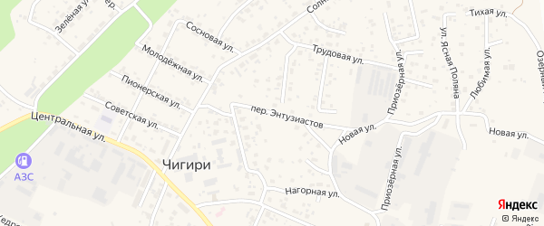 Переулок Энтузиастов на карте села Чигири с номерами домов