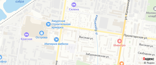Чудиновский переулок на карте Благовещенска с номерами домов