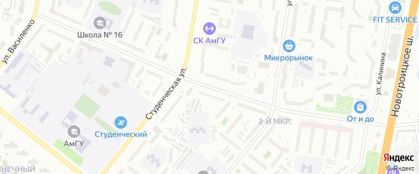 Институтская улица на карте Благовещенска с номерами домов