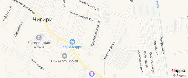 Первомайская улица на карте села Чигири с номерами домов