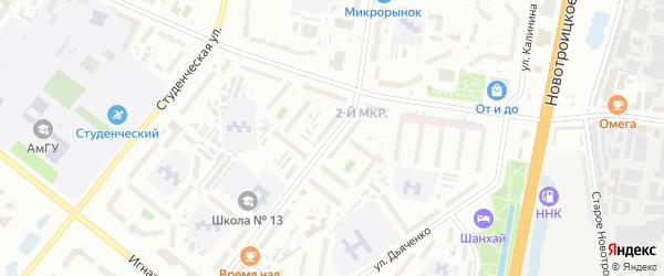 Улица Кантемирова на карте Благовещенска с номерами домов