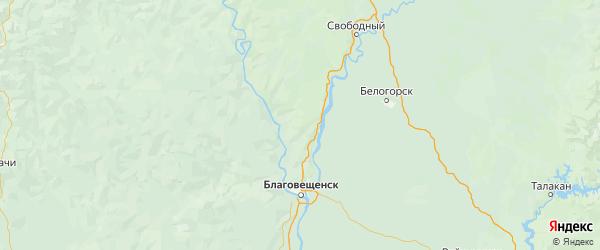 Карта Благовещенского района Амурской области с городами и населенными пунктами