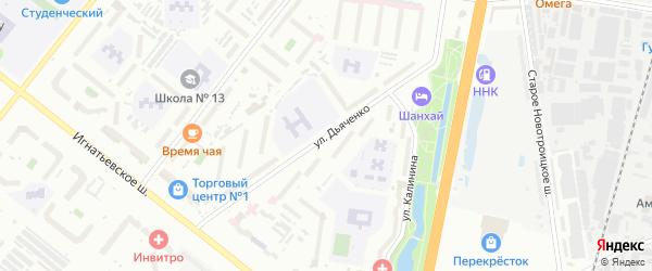 Улица Дьяченко на карте Благовещенска с номерами домов