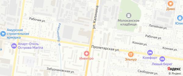 Улица Калинина на карте Благовещенска с номерами домов