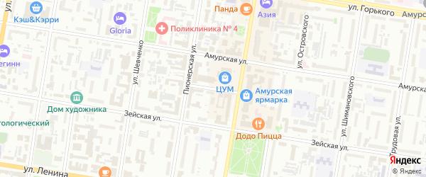 Переулок А.Волошина на карте Благовещенска с номерами домов