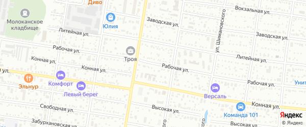 Рабочая улица на карте Благовещенска с номерами домов