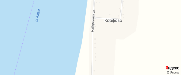Набережная улица на карте села Корфово с номерами домов