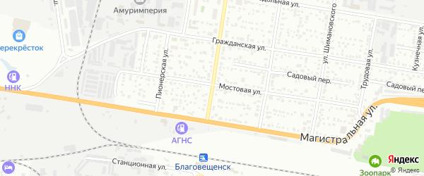 Улица 50 лет Октября на карте Благовещенска с номерами домов