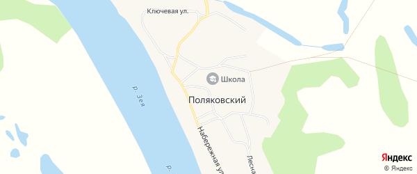 Карта Поляковского поселка в Амурской области с улицами и номерами домов