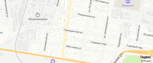Гражданская улица на карте Благовещенска с номерами домов