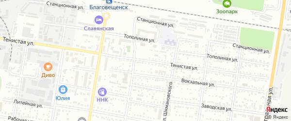 Тенистая улица на карте Благовещенска с номерами домов