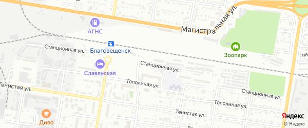 Станционная улица на карте Благовещенска с номерами домов