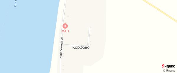 Зеленая улица на карте села Корфово с номерами домов