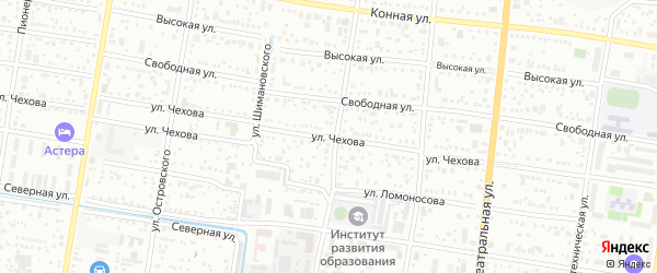Улица Чехова на карте Благовещенска с номерами домов