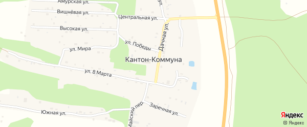 Улица Мира на карте села Кантон-коммуны с номерами домов