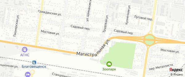 Мостовая улица на карте Благовещенска с номерами домов