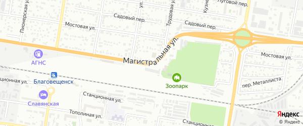 Магистральная улица на карте Благовещенска с номерами домов