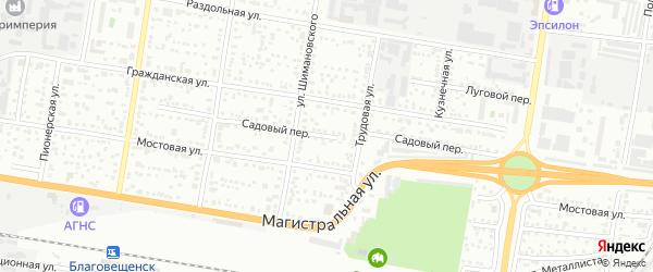 Садовый переулок на карте Садового села с номерами домов