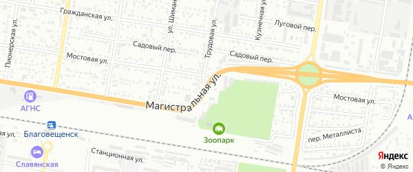 Трудовая улица на карте Благовещенска с номерами домов