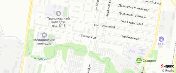 Зеленая улица на карте Благовещенска с номерами домов