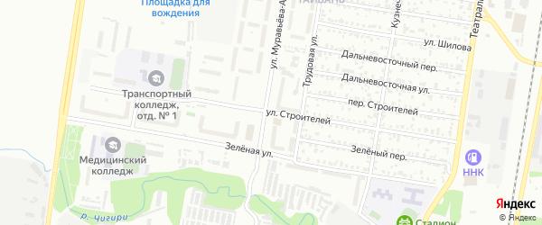 Улица Строителей на карте Благовещенска с номерами домов
