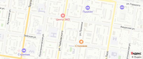 Колхозный переулок на карте Благовещенска с номерами домов
