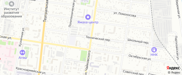 Технический переулок на карте Благовещенска с номерами домов
