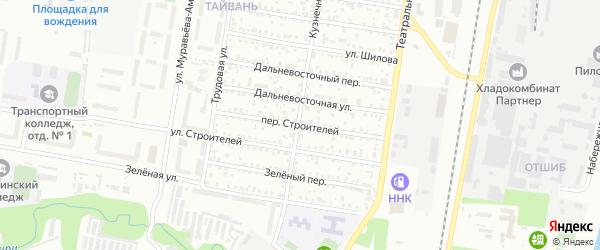 Переулок Строителей на карте Благовещенска с номерами домов