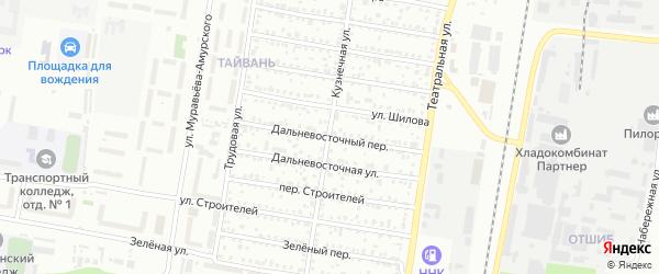 Дальневосточный переулок на карте Благовещенска с номерами домов