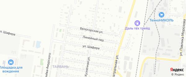 Линейный переулок на карте Благовещенска с номерами домов