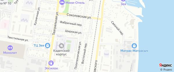 Восточный переулок на карте Благовещенска с номерами домов