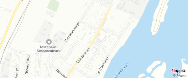 Садовая улица на карте Благовещенска с номерами домов