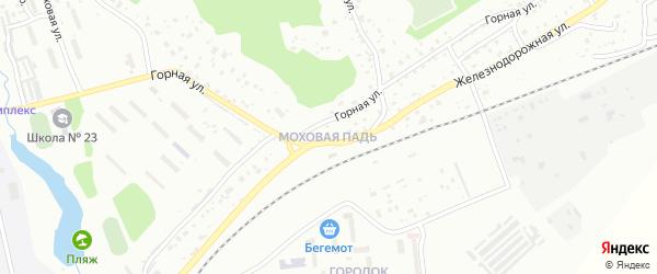 Подгорный переулок на карте поселка Моховой Пади с номерами домов
