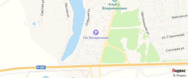 Солнечный переулок на карте села Владимировки с номерами домов