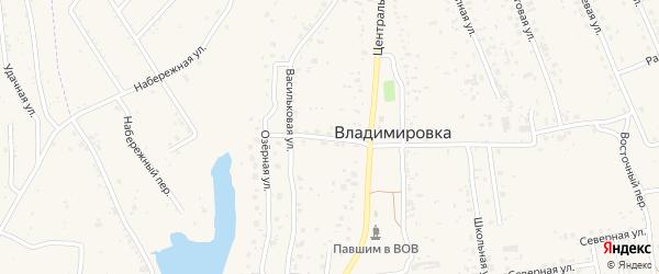Тенистый переулок на карте села Владимировки с номерами домов