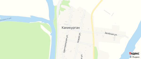 Зеленая улица на карте села Каникургана с номерами домов