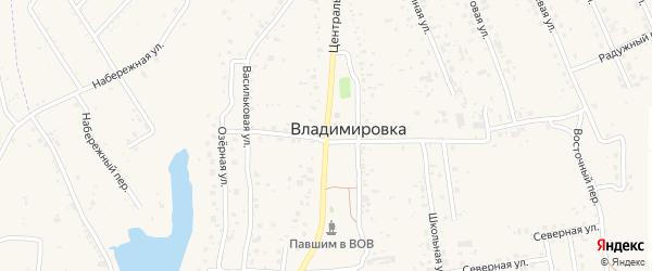 Центральная улица на карте села Владимировки с номерами домов